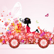 Stock Vector: Girl on a red car with floral gifts