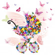 Stroller of flowers and butterflies - Stock Vector