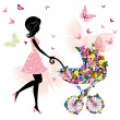 Stock Vector: Young mother with stroller