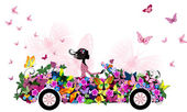 Woman on vintage flower car — Stock Vector
