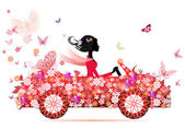 Girl on a red flower car — Stock Vector