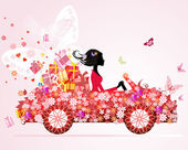 Girl on a red car with floral gifts — Stock Vector