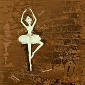 手绘背景 grunge 的舞者 — 图库矢量图片