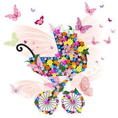 Stroller of flowers and butterflies — Stock Vector