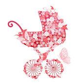 Stroller of flowers for girls — Stock Vector