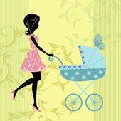 Woman with a pram — Stock Vector