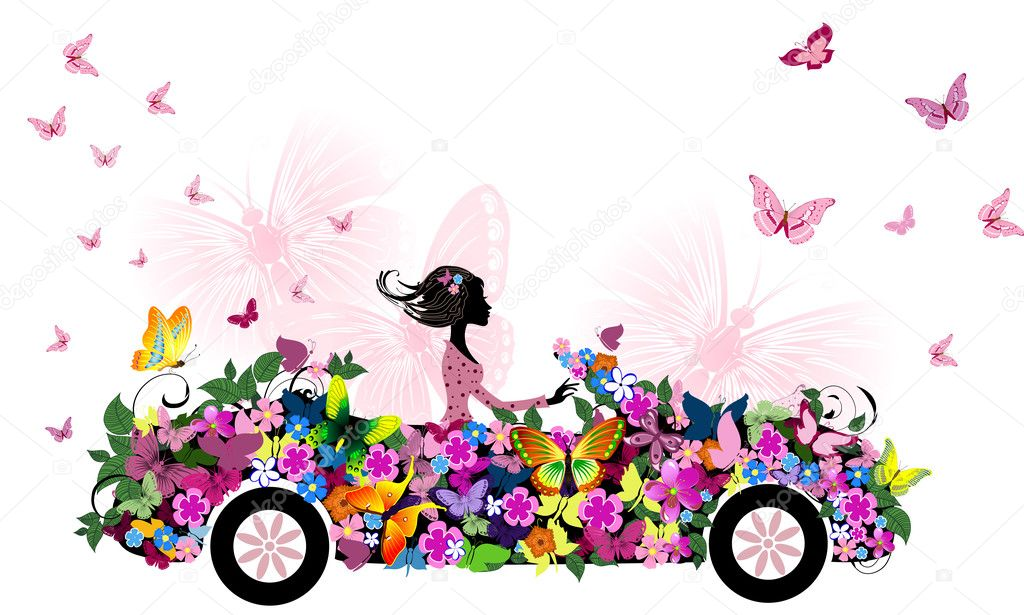 Woman on vintage flower car — Stock Vector #6830587