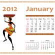 Calendar for 2012 with an African woman - Vettoriali Stock 