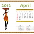 Calendar for 2012 with an African woman — Stock Vector #6941308