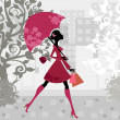 Beautiful woman with umbrella — Stock Vector