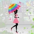 Stock Vector: Beautiful girl with an umbrella in the city