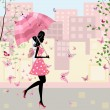 Royalty-Free Stock Vector Image: Beautiful girl with an umbrella in the city