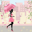 Beautiful girl with an umbrella in the city — Stock Vector
