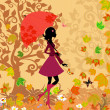 Stock Vector: Woman under an umbrella in the autumn