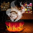 Magic pot on the fire - 图库矢量图片