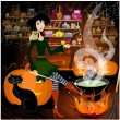 Witch potion brews — Stockvektor