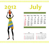 Calendar for 2012 with an African woman — Stock Vector