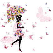 Flower girl with umbrella — Stock Vector