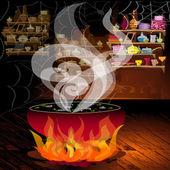Magic pot on the fire — Stock Vector