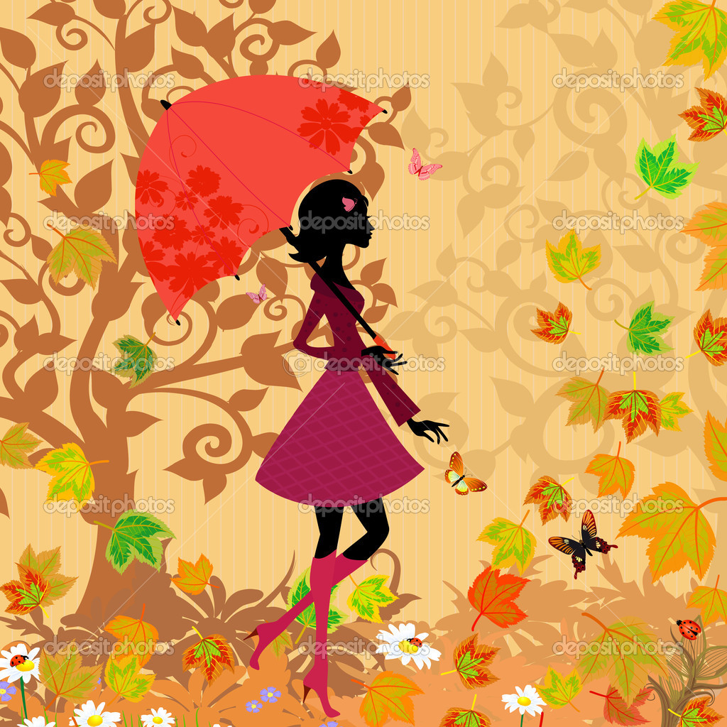 Woman under an umbrella in the autumn — Stock Vector #6941409