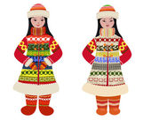Girl in traditional costume of northern peoples — Stock Vector