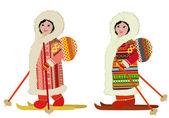 Eskimo girl in ski bag — Stock Vector
