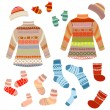 Warm knitting patterns with - Stock Vector