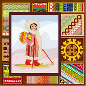 Ethnic pattern of the northern woman — Stock Vector