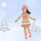 Girl skating in winter on the ice — Stock Vector