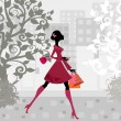 Urban shopping girl — Stock Vector