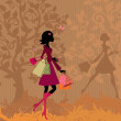 Girl with shopping in the park in autumn — Stock Vector