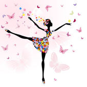 Ballerina girl with flowers with butterflies — Stock Vector