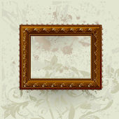 Gilded frame on grunge wall — Stock Vector
