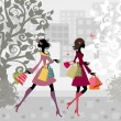 Girls walking around town with shopping — Stock Vector