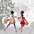 Stock Vector: Girls walking around town with shopping