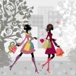 chicas caminando por la ciudad con las compras — Vector de stock