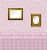 Wooden frame with a vintage gold on the wall — Stock Vector