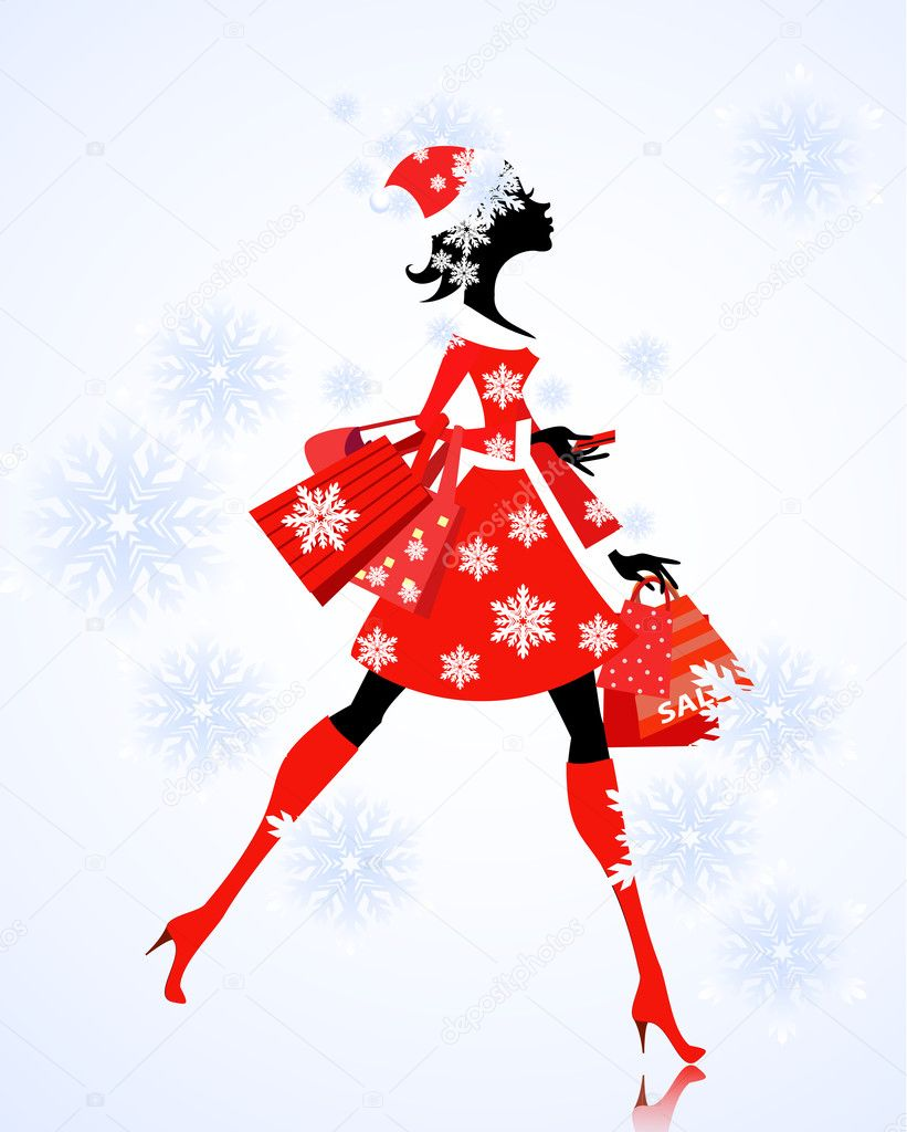 Santa Girl with gifts and shopping — Stockvektor #7733799