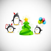 Merry christmas, funny penguins near the christmas tree with star — Stock Vector
