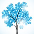 Winter background, a tree in the snow — Stock Vector #7640852