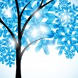 Winter background, a tree in the snow — Stockvectorbeeld