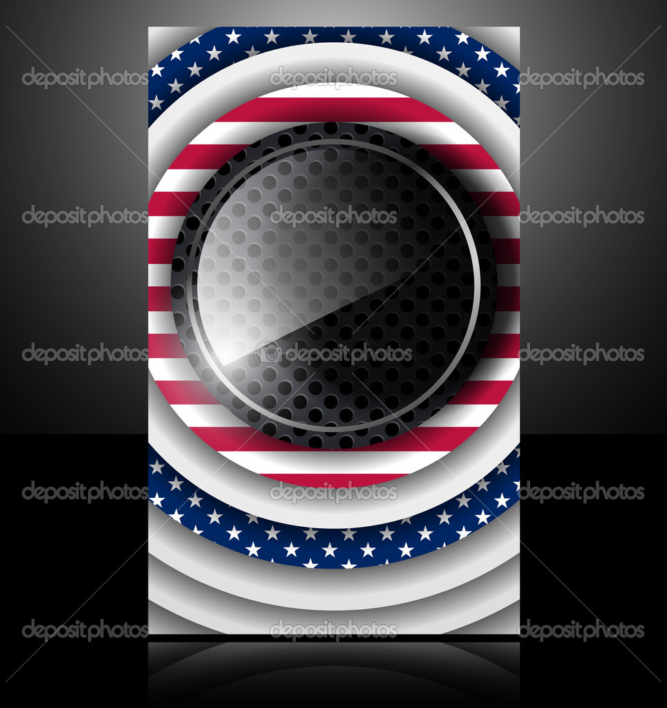 American flag usa abstract card glass metal national star  Stock Vector #7640811