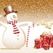 Merry christmas snowman xmas happy new year card celebration gift town - Stock Vector