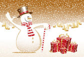 Merry christmas snowman xmas happy new year card celebration gift town — Vecteur