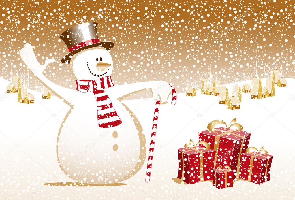 Merry christmas snowman xmas happy new year card celebration gift town — Stock Vector #7712848