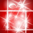 Gift christmas winter shiny abstract box greeting holiday magic xmas red — Imagen vectorial
