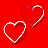 Je t'aime coeur autocollant rouge ombre réaliste écarlate symbole signe objet pa — Vecteur