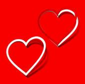Te amo corazón adhesivo rojo escarlata sombra realista símbolo signo objeto pa — Vector de stock