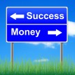 Success money roadsign on sky background, grass underneath. — Stock Photo