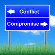 Conflict compromise roadsign on sky background, grass underneath — Stockfoto #6928591